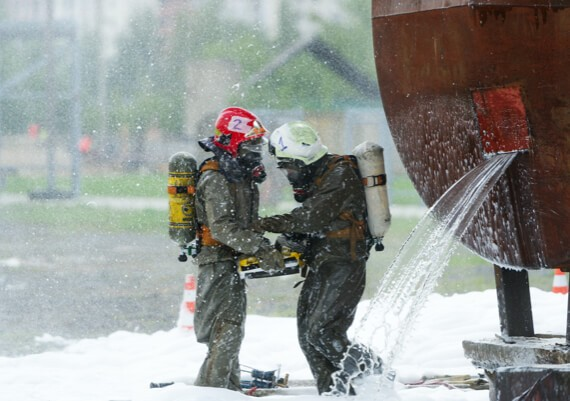 First Response Cleaning's team of cleanup professionals attending to a hazardous mess