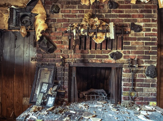 A home damaged by a fire before undergoing disaster restoration