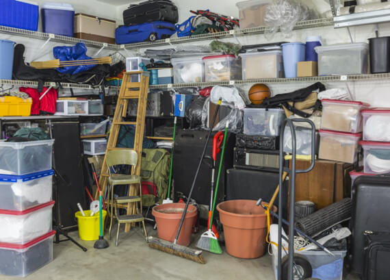 An Ottawa Garage shows the early signs of hoarding